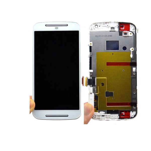 Дисплей для Motorola XT1063 Moto G (2nd Gen)/XT1064/XT1068 с тачскрином и рамкой белый Оригинал