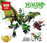 Конструктор Lepin Зелёный Дракон Ллойда (Серия Ninjsaga) 300 дет