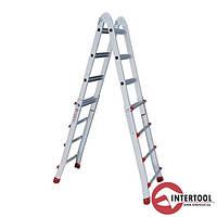 Лестница алюминиевая универсальная раскладная телескопическая 4*4 ступ. 4.20м
