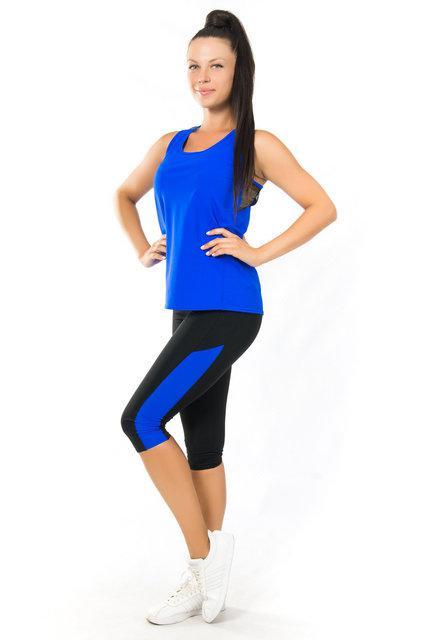 Женская одежда для йоги и фитнеса (40,42,44,46,48) спортивный комплект майка и бриджи ЭЛЕКТРИК