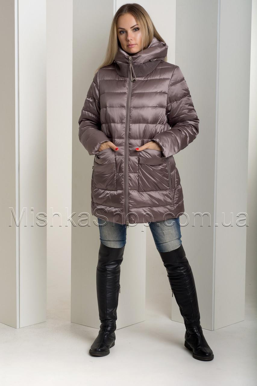 Зимний пуховик больших размеров из итальянской блестящей ткани цвета капучино Snow Owl 18В719М-1