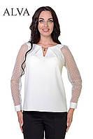 Красивая белая блуза с брошью 46-52, фото 1
