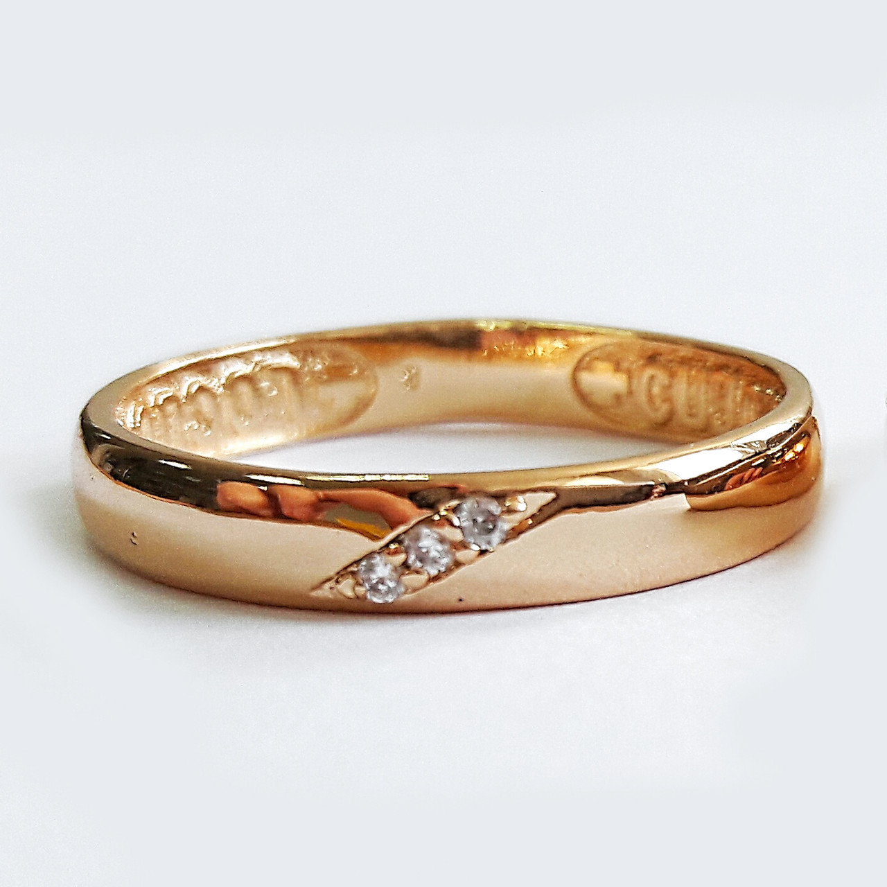 Кольцо 3мм xuping 17р. мед золото спаси и сохрани 148391