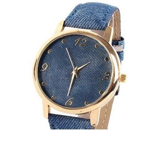 Спортивные кварцевые часы джинсовый цвет силикон