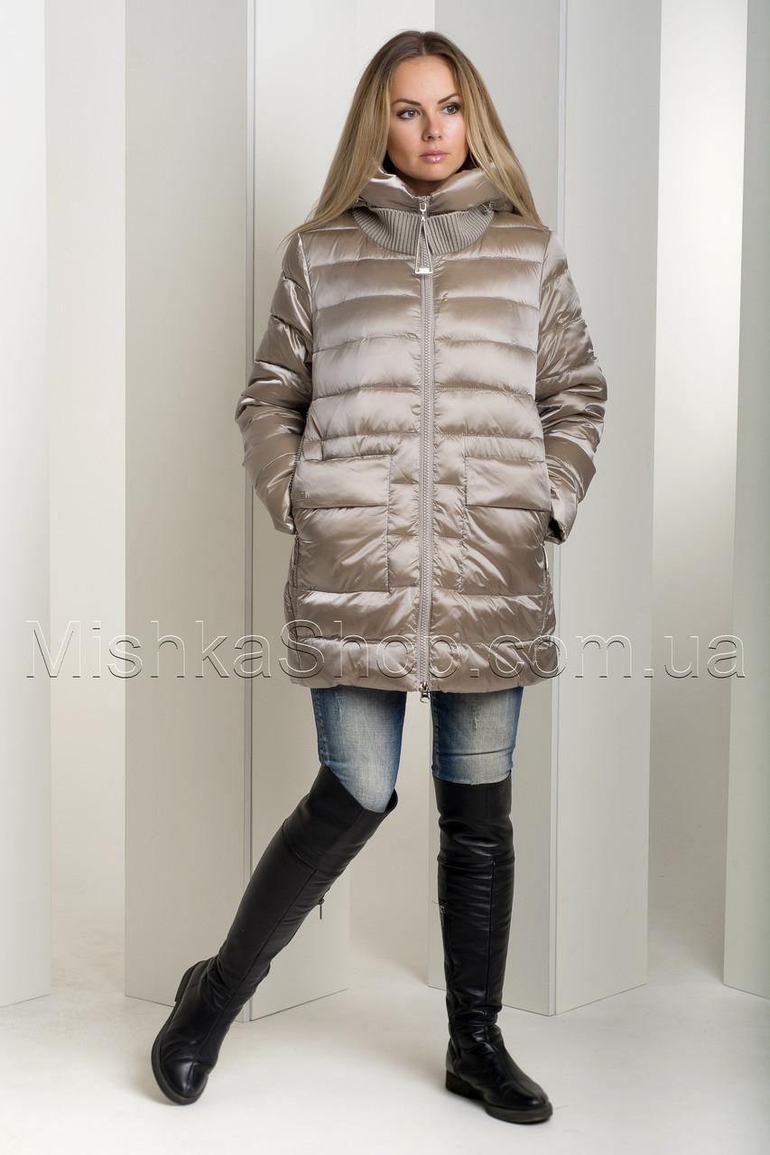 Зимний пуховик больших размеров из итальянской блестящей ткани цвета золото Snow Owl 18В719М-1