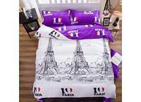 """Двухспальное постельное белье из Бязи голд""""Я люблю Париж"""""""