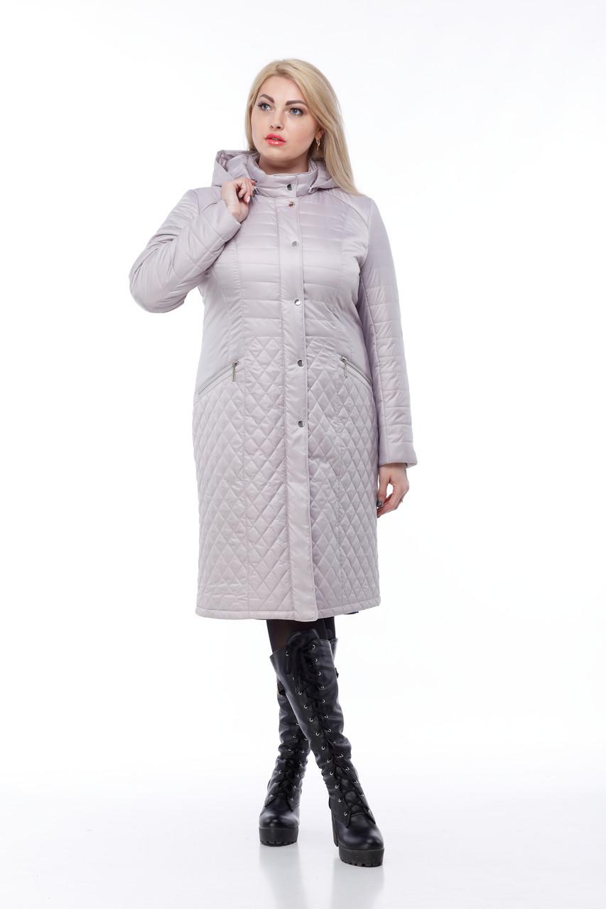 Длинное стеганное Пальто большого размера демисезонное женское 48-60 коллекция 2019-2018