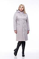 Длинное стеганное Пальто большого размера демисезонное женское 48-60 коллекция 2019-2018, фото 2