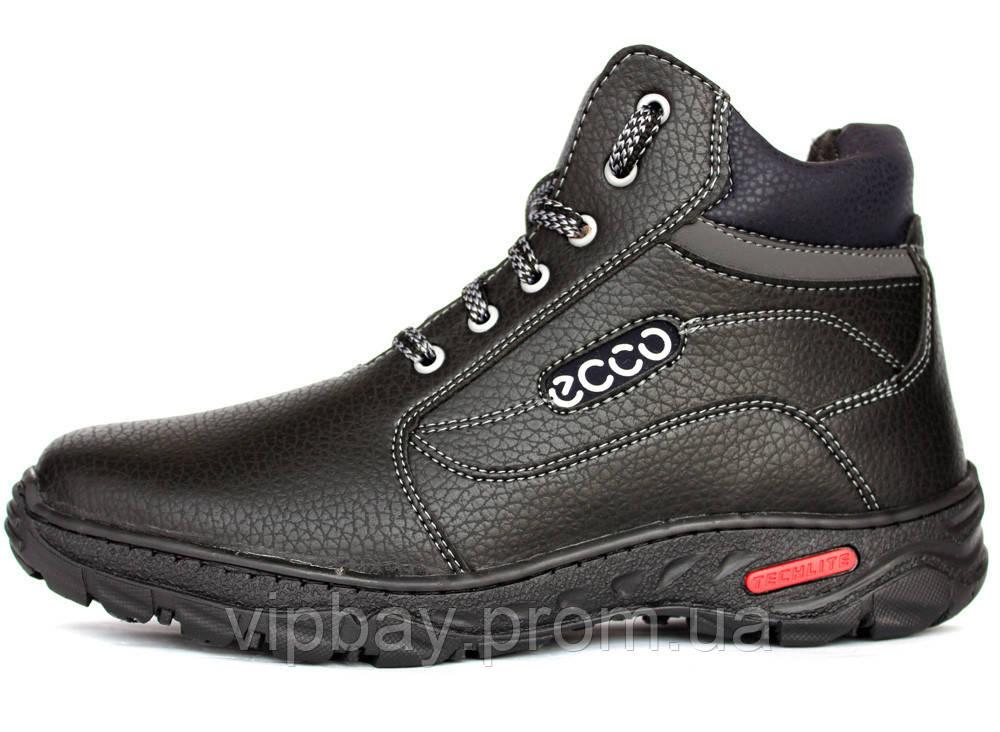 Ботинки мужские на меху в стиле Ecco (СГБ-16ч)