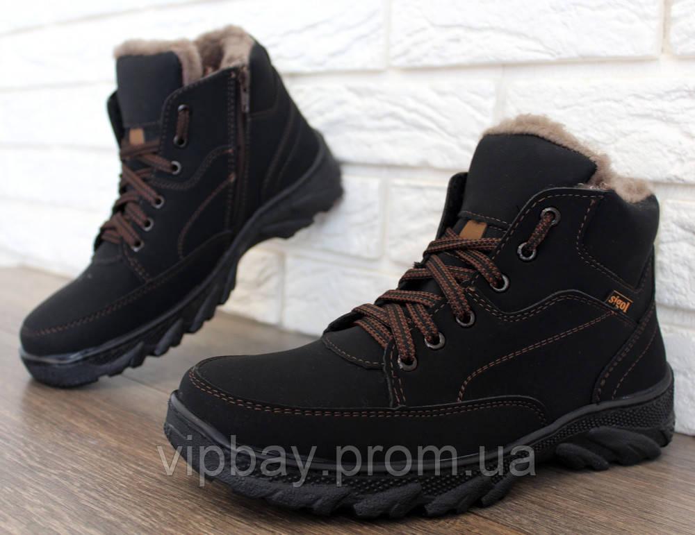 Чоловічі черевики зимові на хутрі еко-нубук (СГБ-5ч) 40
