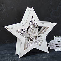 Новогоднее украшение - деревянная звезда с подсветкой, фото 1
