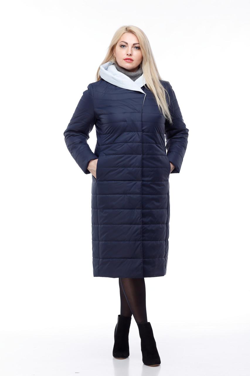 Пальто стеганое больших размеров 48-60 синее 2019 новинка демисезонное