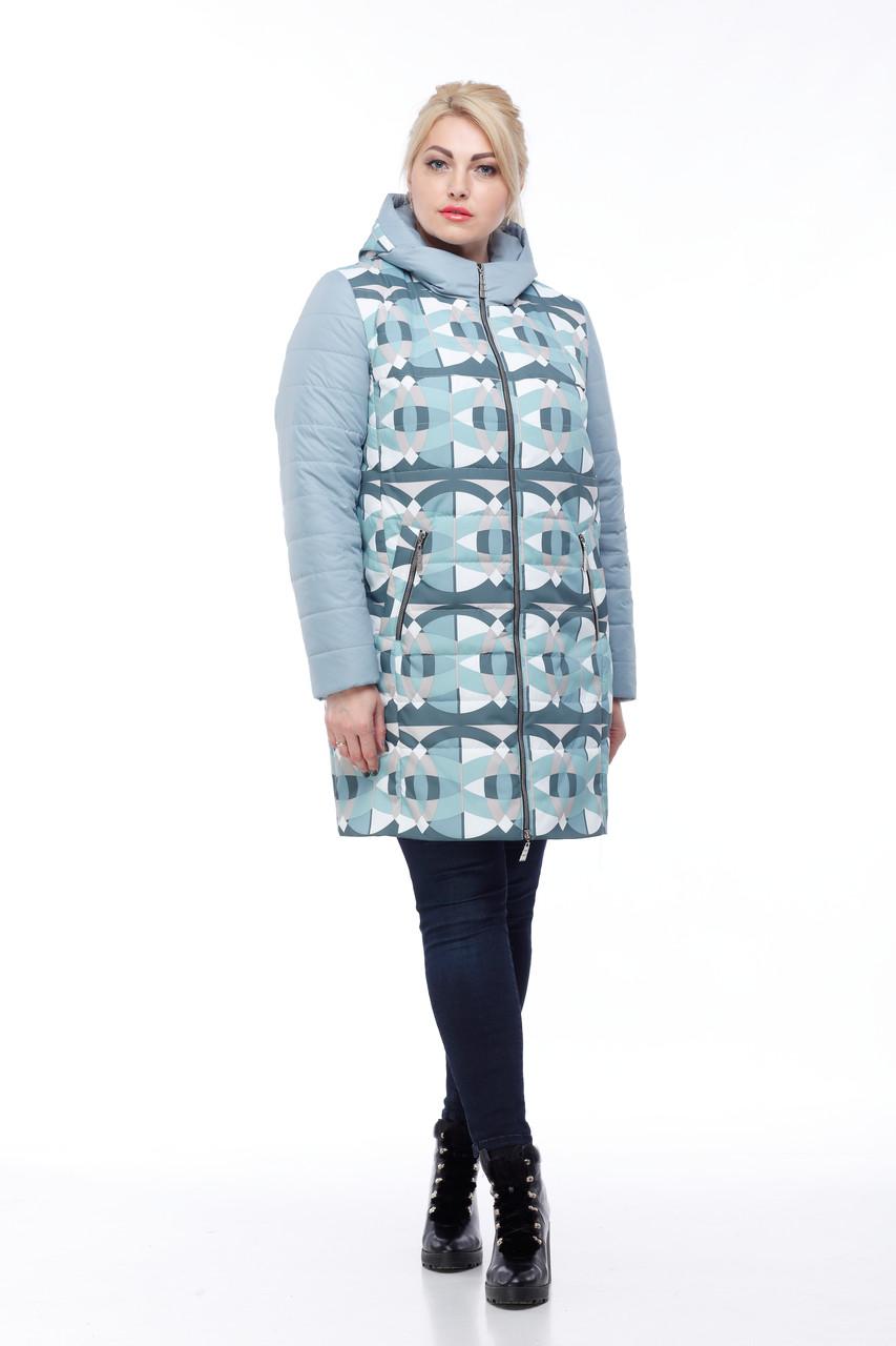 Куртка женская удлиненная голубой принт, весна-осень 2019 размер 42- 54