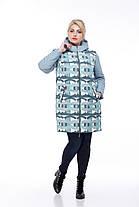 Куртка женская удлиненная голубой принт, весна-осень 2019 размер 42- 54, фото 3