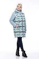 Куртка женская удлиненная голубой принт, весна-осень 2019 размер 42- 54, фото 2