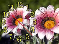 """Настенные часы-картина """"Цветы в росе"""" 30х40см красивый подарок"""