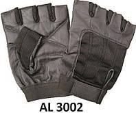 Кожаные перчатки без пальцев AL3002 с текстильными вставками