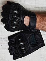 Шкіряні рукавички безпалі з карбонової захистом