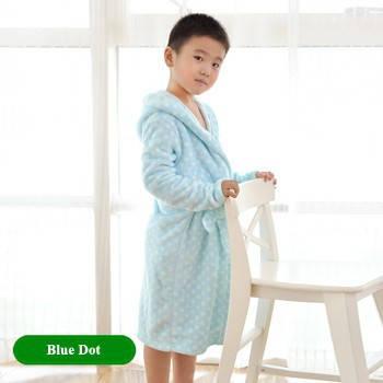 Детский халат из фланели. Голубой