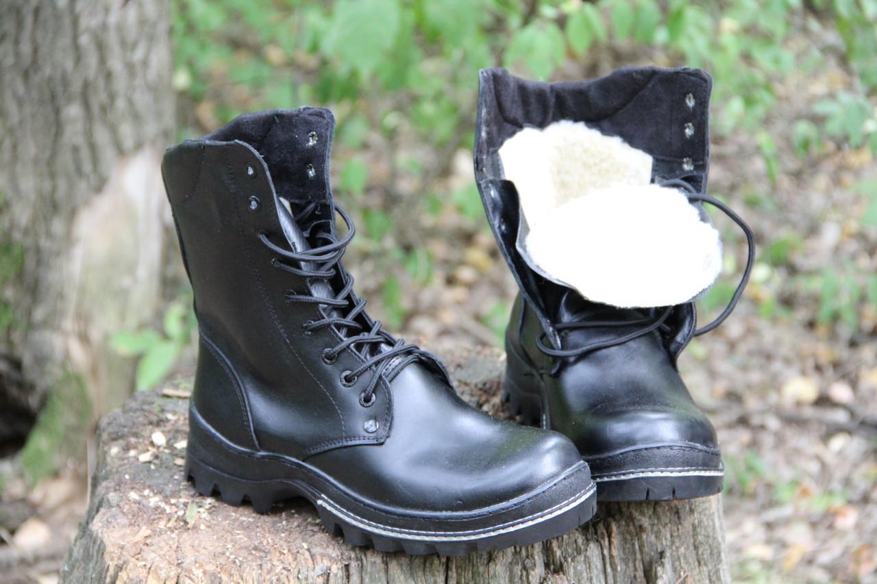 Ботинки берцы зимние из натуральной кожи и меха черная кожа Антистатик
