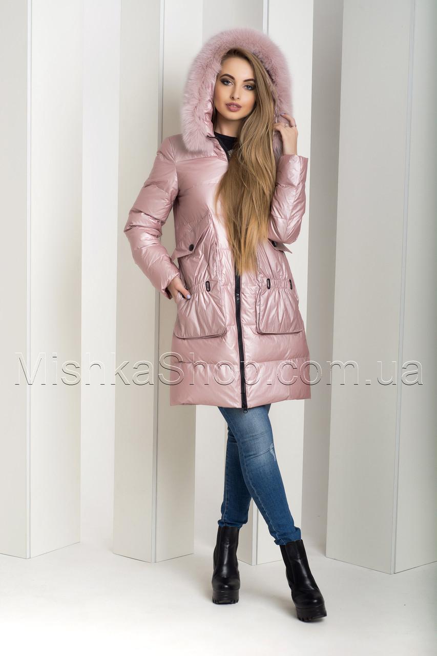 """Чудесный зимний пуховик из мягкой итальянской ткани ZL.YA (ZLLY) 18648 с мехом песца цвета """"розовый кварц"""""""