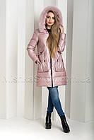 """Чудесный зимний пуховик из мягкой итальянской ткани ZL.YA (ZLLY) 18648 с мехом песца цвета """"розовый кварц"""", фото 1"""