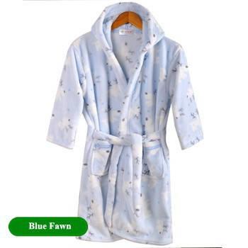 Детский халат из фланели. Синий