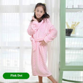 Детский халат из фланели. Розовый в горошек