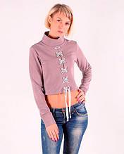Женский свитшот кроп -топ на шнуровке Фиалка размеры 40-46