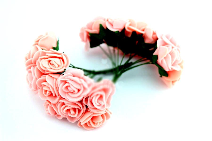 Цветок декор розочка розового цвета 12шт