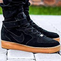 "Зимние мужские кроссовки Nike Air Force 1 Mid ""Black Gum"" c мехом, nike air force high"