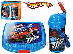 """Набор """"Hot Wheels (Хот вилс)"""" в коробке. Ланч бокс (ланчбокс) + бутылка с трубочкой"""