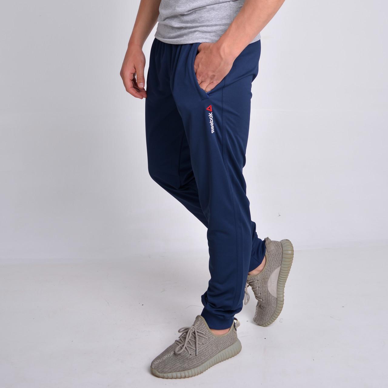 7d99cab4 Темно-синие мужские спортивные штаны на манжете Reebok (Рибок),  Трикотаж-Пике
