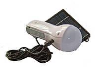 Лампа светодиодная gd-652, зарядка от сети 220в и солнечной панели, led-фонарь для кемпинга, дачи и дома, 3вт
