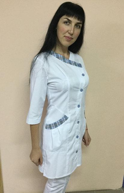 Медицинский женский халат Китай  рукав три четверти коттоновый