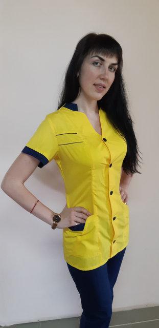 Женский медицинский костюм Оксана-цветной на пуговицах короткий рукав 2-х цветный
