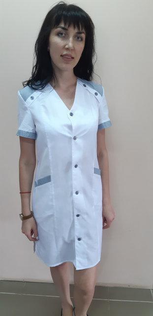 Женский медицинский халат Рондо на пуговицах короткий рукав