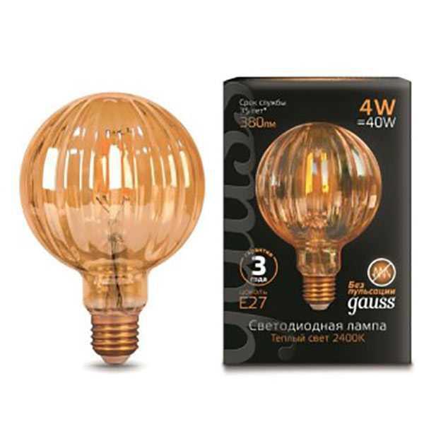 Светодиодная лампа GAUSS Black FIL GOLDEN G100 4Вт 2400K E27 185-265В