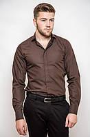 Мужская однотонная классическая рубашка со скрытыми пуговицами под запонки белая