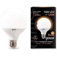 Светодиодная лампа GAUSS Black G95 16Вт 3000K E27 150-265В