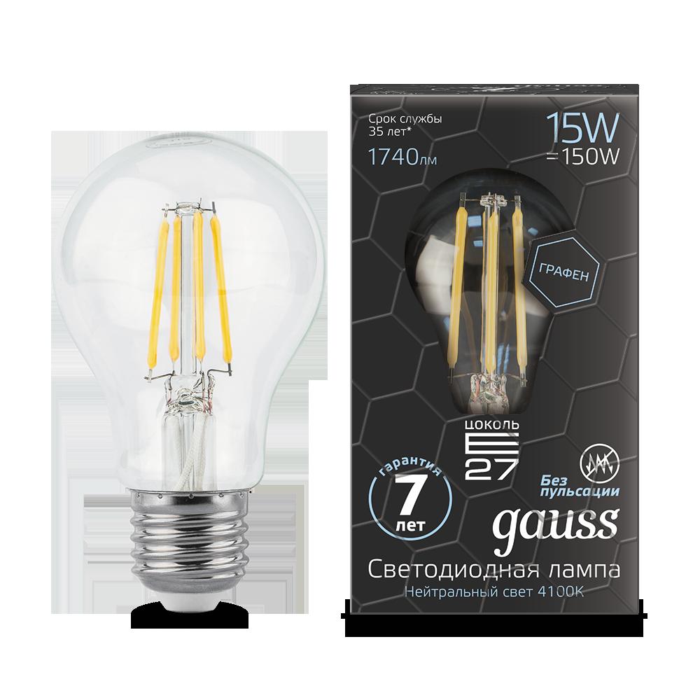 Светодиодная лампа GAUSS Filam.Graphene A60 15Вт 4100K E27 150-265В