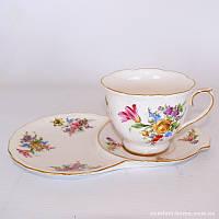 Чашка с блюдцем «Цветы», фарфор, 250 мл