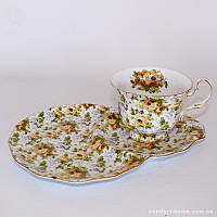 Чашка с блюдцем «Цветочная поляна», фарфор, 220 мл
