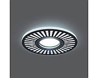 Врезной светильник GAUSS Backlight BL135 GU5.3 7W+3WLED(incl) 4000 К круглый черный