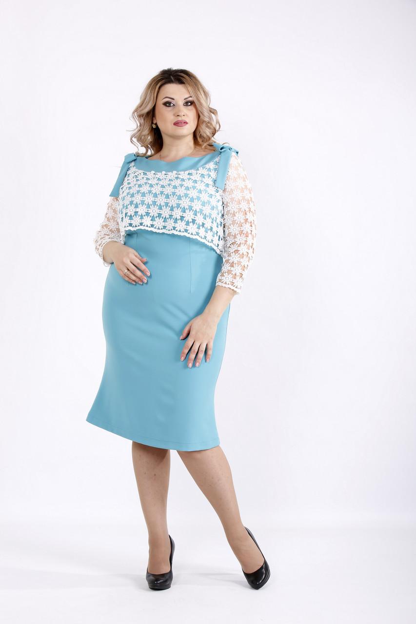 Платье с макраме на груди и прозрачными рукавами | 0908-3