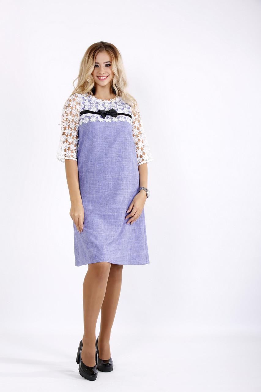 Сиреневое платье из габардина| 0909-3