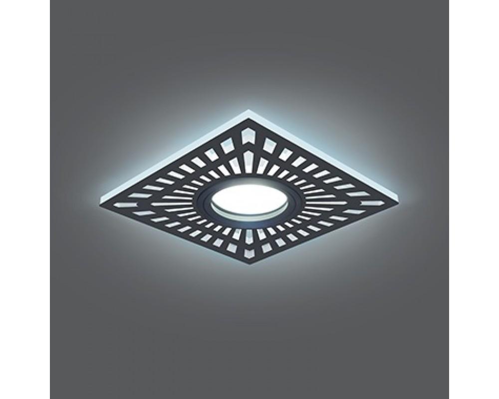Врезной светильник GAUSS Backlight BL126 GU5.3 7W+3WLED(incl) 4000К квадрат черный