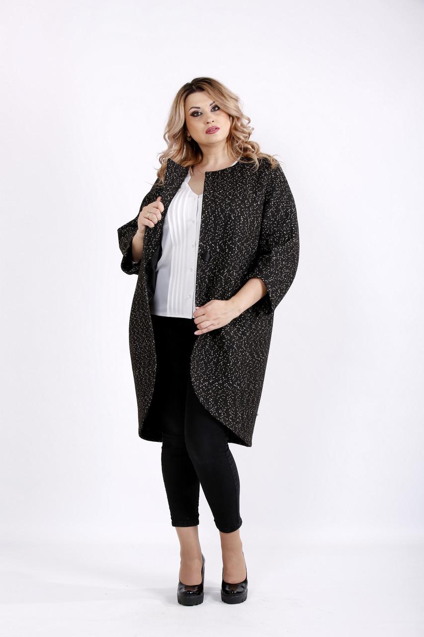Черное пальто с бежевыми точками | t0920-3