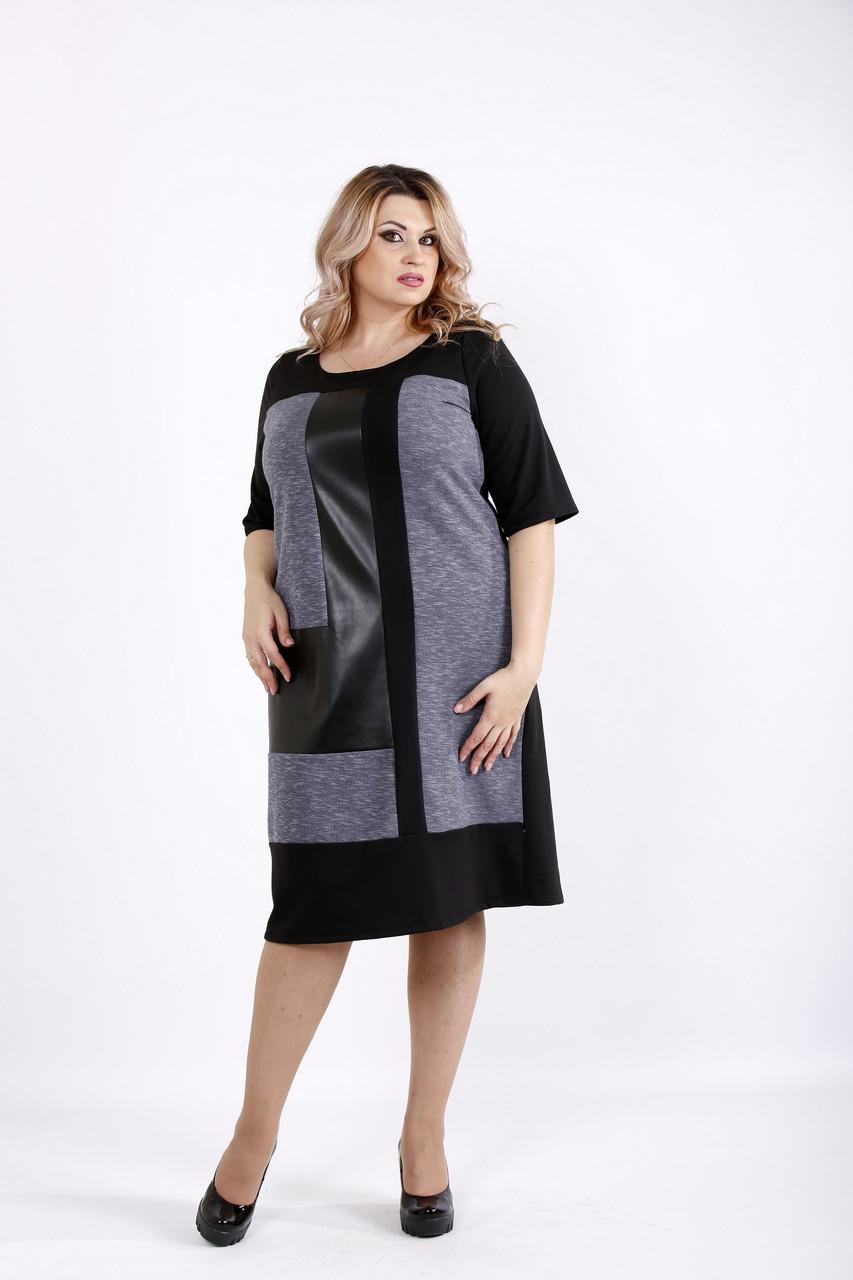 Черное комбинированное платье | 0922-1