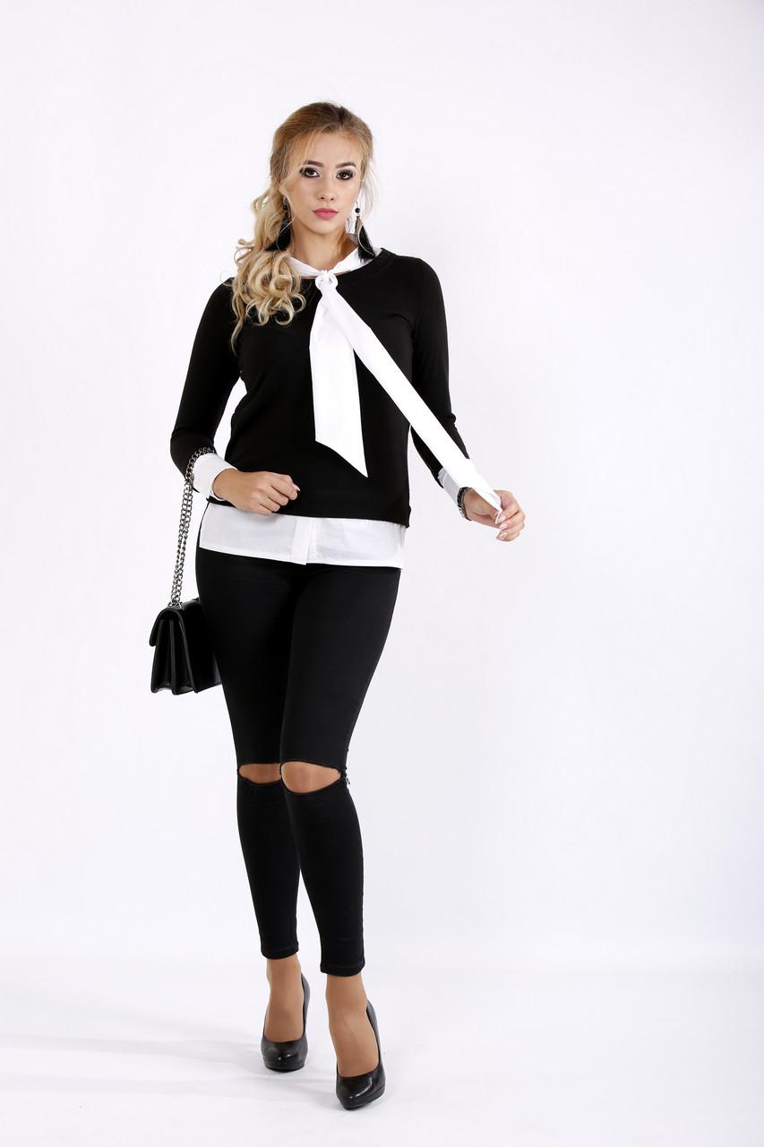 Черная блузка с длинным рукавом | 0925-3